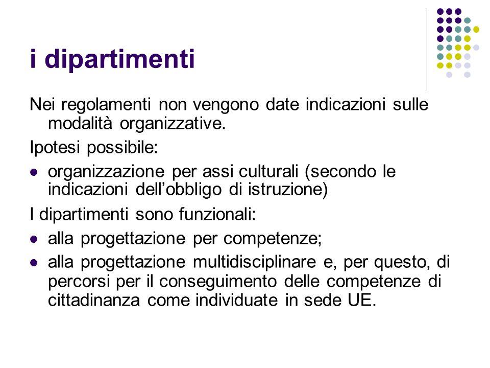 i dipartimenti Nei regolamenti non vengono date indicazioni sulle modalità organizzative. Ipotesi possibile: organizzazione per assi culturali (second