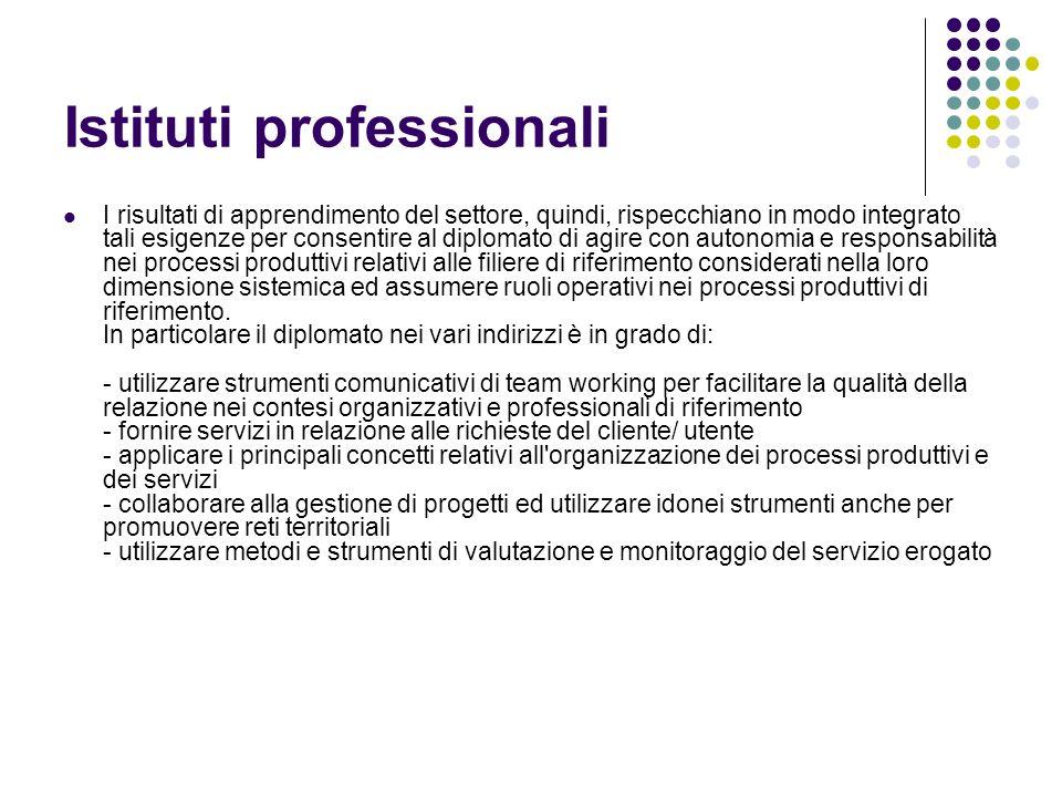Istituti professionali I risultati di apprendimento del settore, quindi, rispecchiano in modo integrato tali esigenze per consentire al diplomato di a