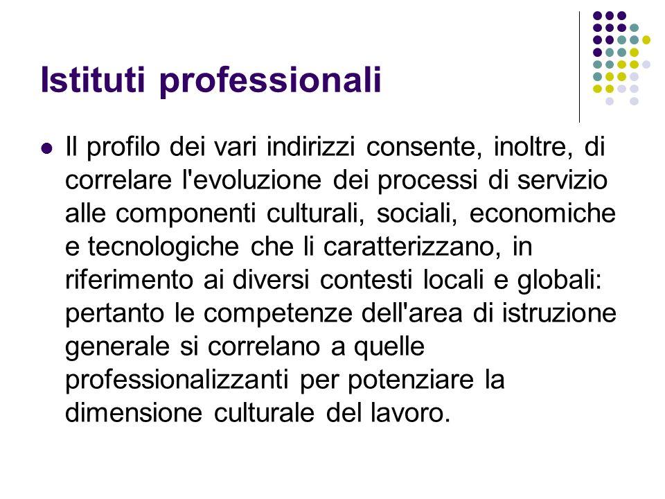 Istituti professionali Il profilo dei vari indirizzi consente, inoltre, di correlare l'evoluzione dei processi di servizio alle componenti culturali,
