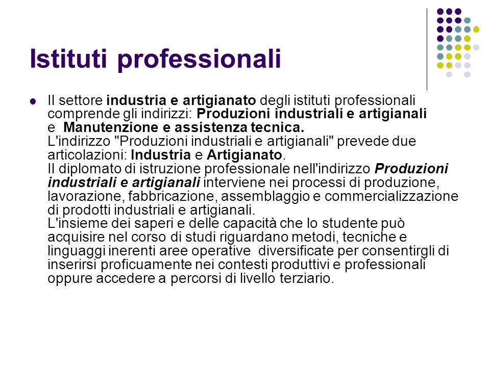 Istituti professionali Il settore industria e artigianato degli istituti professionali comprende gli indirizzi: Produzioni industriali e artigianali e Manutenzione e assistenza tecnica.