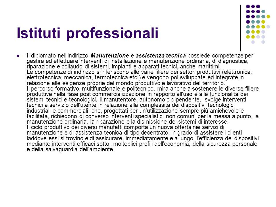 Istituti professionali Il diplomato nell'indirizzo Manutenzione e assistenza tecnica possiede competenze per gestire ed effettuare interventi di insta