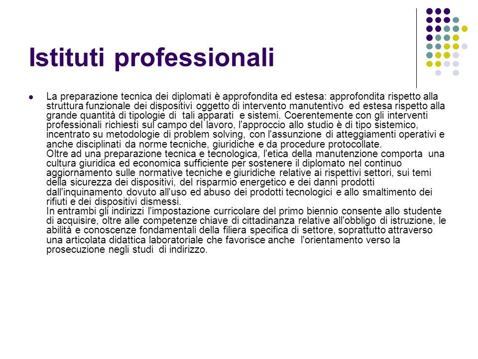 Istituti professionali La preparazione tecnica dei diplomati è approfondita ed estesa: approfondita rispetto alla struttura funzionale dei dispositivi