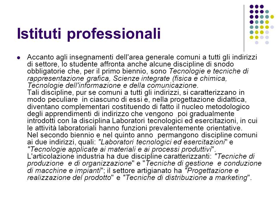 Istituti professionali Accanto agli insegnamenti dell'area generale comuni a tutti gli indirizzi di settore, lo studente affronta anche alcune discipl