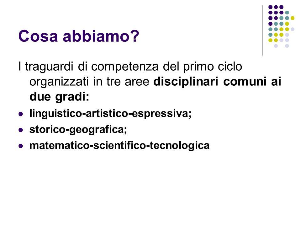 Cosa abbiamo? I traguardi di competenza del primo ciclo organizzati in tre aree disciplinari comuni ai due gradi: linguistico-artistico-espressiva; st