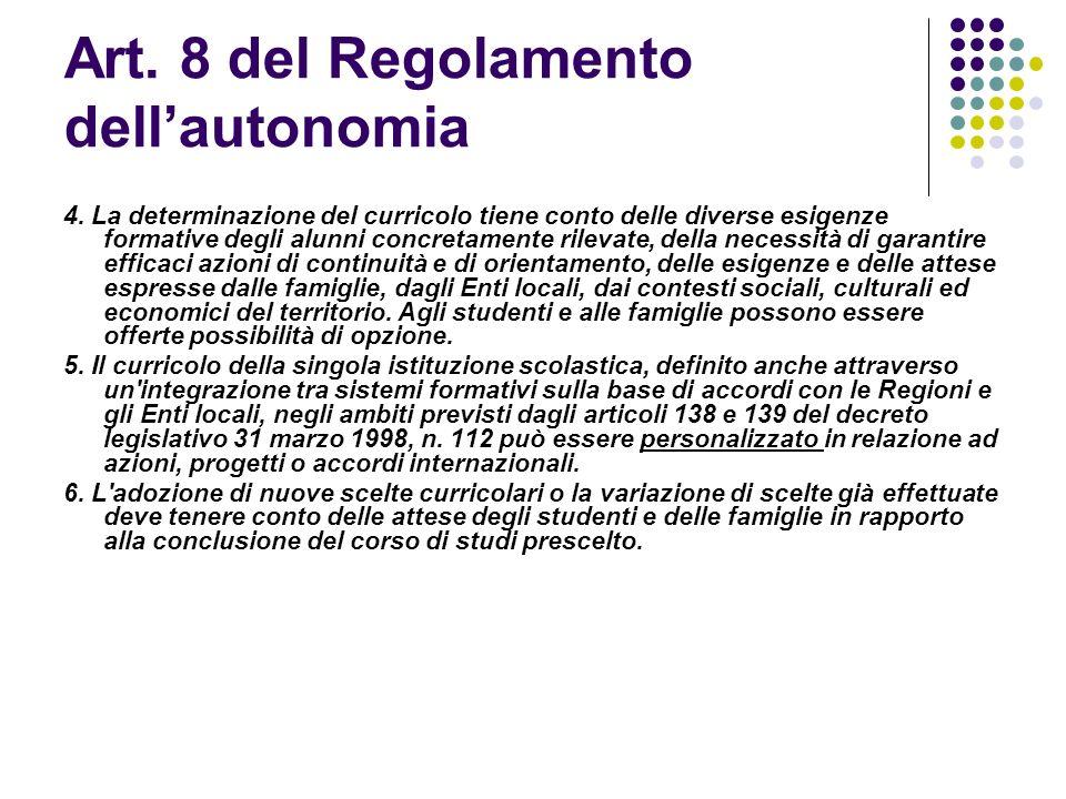 Art. 8 del Regolamento dellautonomia 4. La determinazione del curricolo tiene conto delle diverse esigenze formative degli alunni concretamente rileva