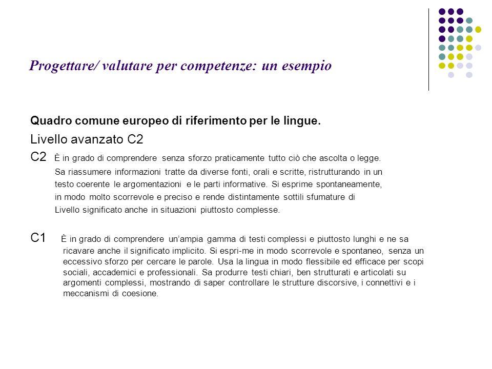 Progettare/ valutare per competenze: un esempio Quadro comune europeo di riferimento per le lingue. Livello avanzato C2 C2 È in grado di comprendere s
