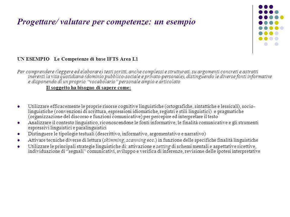 Progettare/ valutare per competenze: un esempio UN ESEMPIO Le Competenze di base IFTS Area L1 Per comprendere (leggere ed elaborare) testi scritti, an