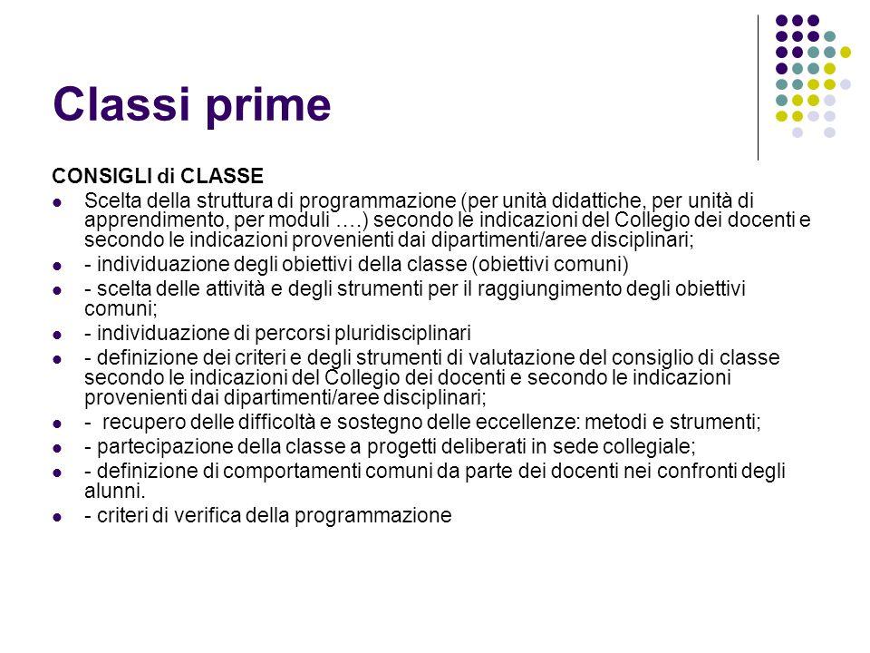 Classi prime CONSIGLI di CLASSE Scelta della struttura di programmazione (per unità didattiche, per unità di apprendimento, per moduli ….) secondo le