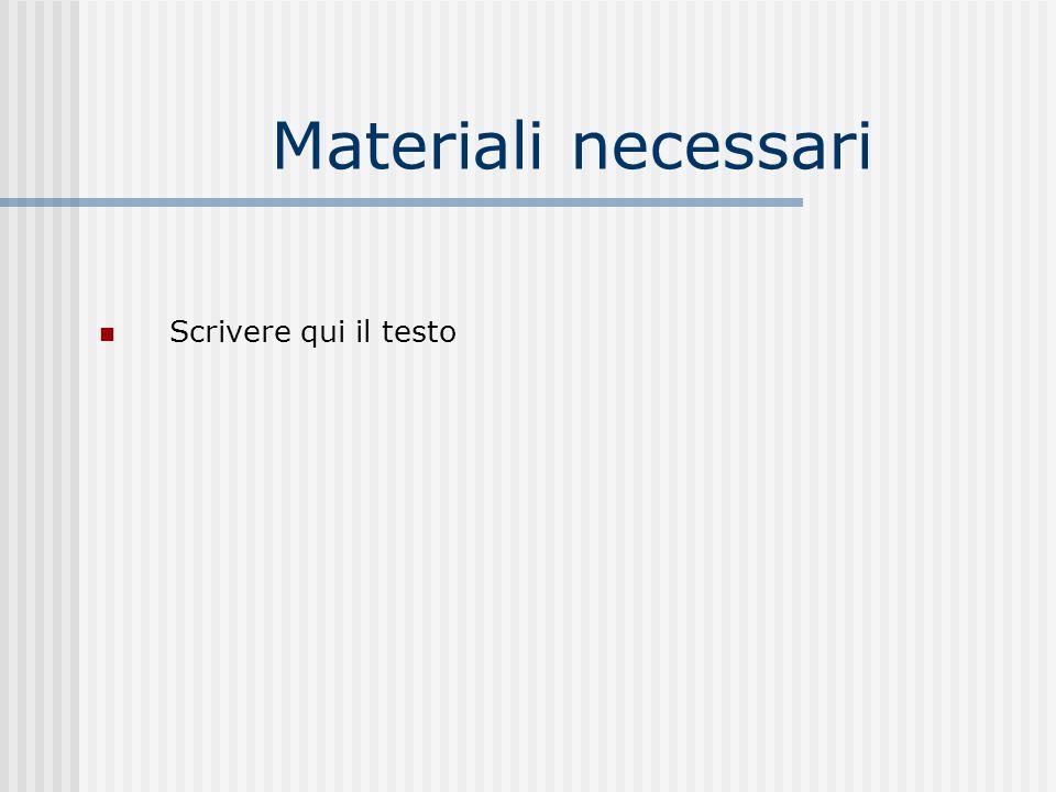 Materiali necessari Scrivere qui il testo