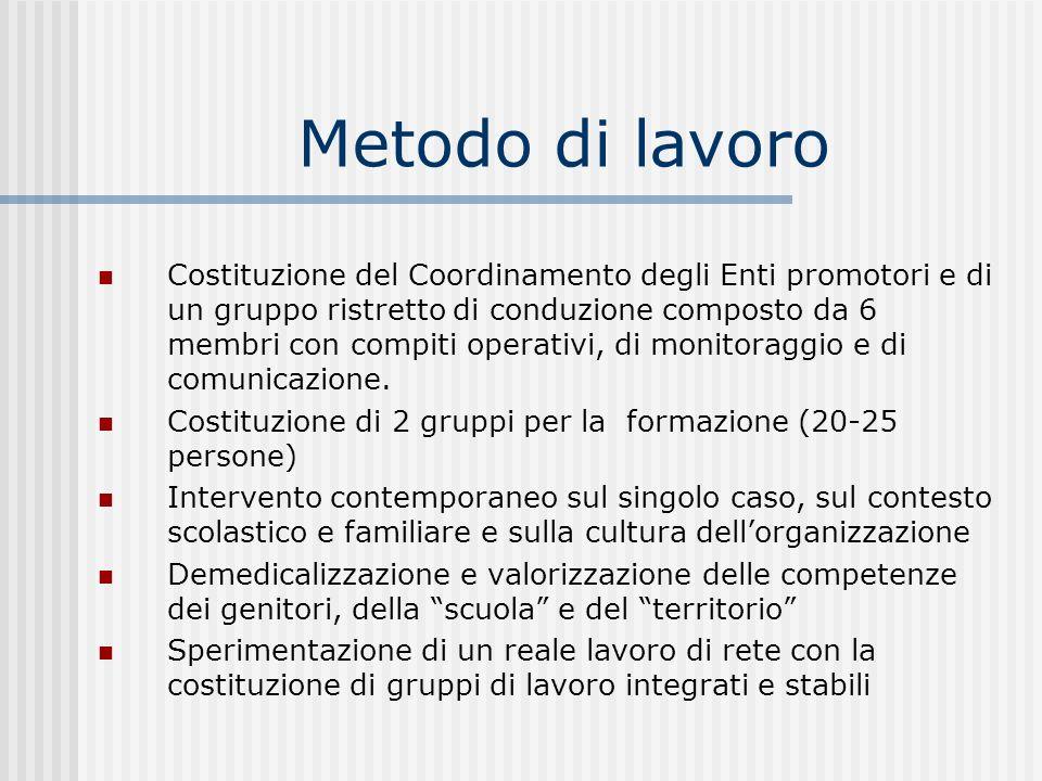 Metodo di lavoro Costituzione del Coordinamento degli Enti promotori e di un gruppo ristretto di conduzione composto da 6 membri con compiti operativi