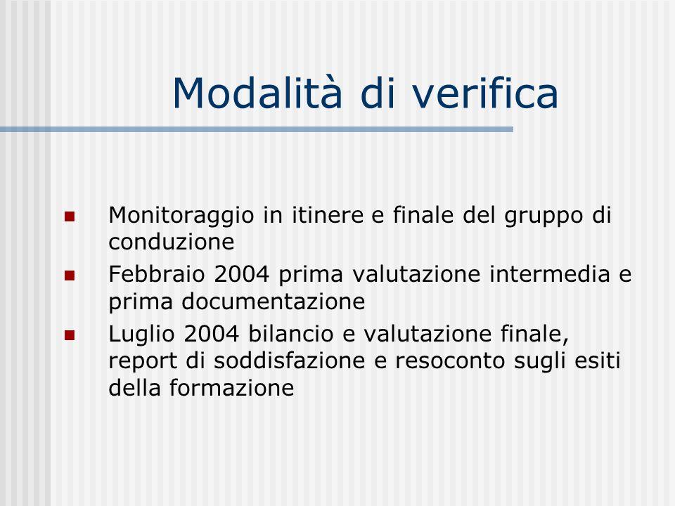 Modalità di verifica Monitoraggio in itinere e finale del gruppo di conduzione Febbraio 2004 prima valutazione intermedia e prima documentazione Lugli