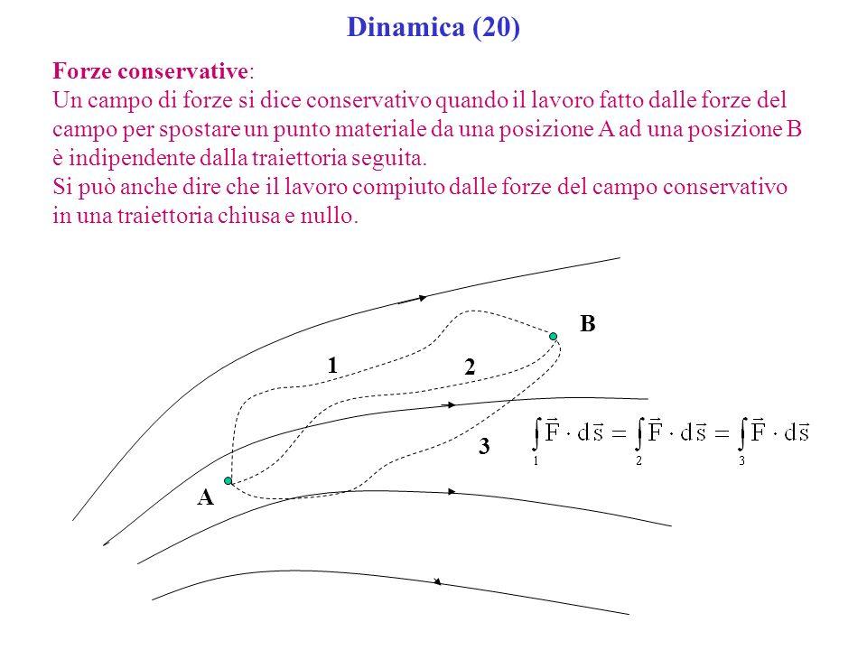 Dinamica (20) Forze conservative: Un campo di forze si dice conservativo quando il lavoro fatto dalle forze del campo per spostare un punto materiale
