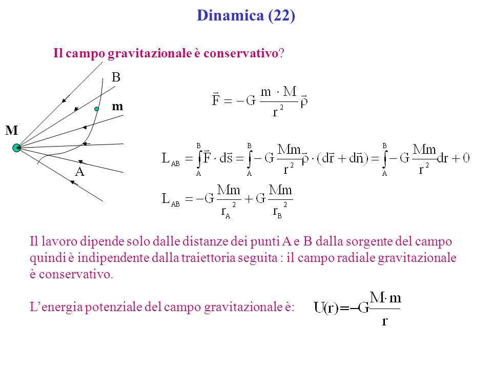 Dinamica (22) Il campo gravitazionale è conservativo? A B M m Il lavoro dipende solo dalle distanze dei punti A e B dalla sorgente del campo quindi è