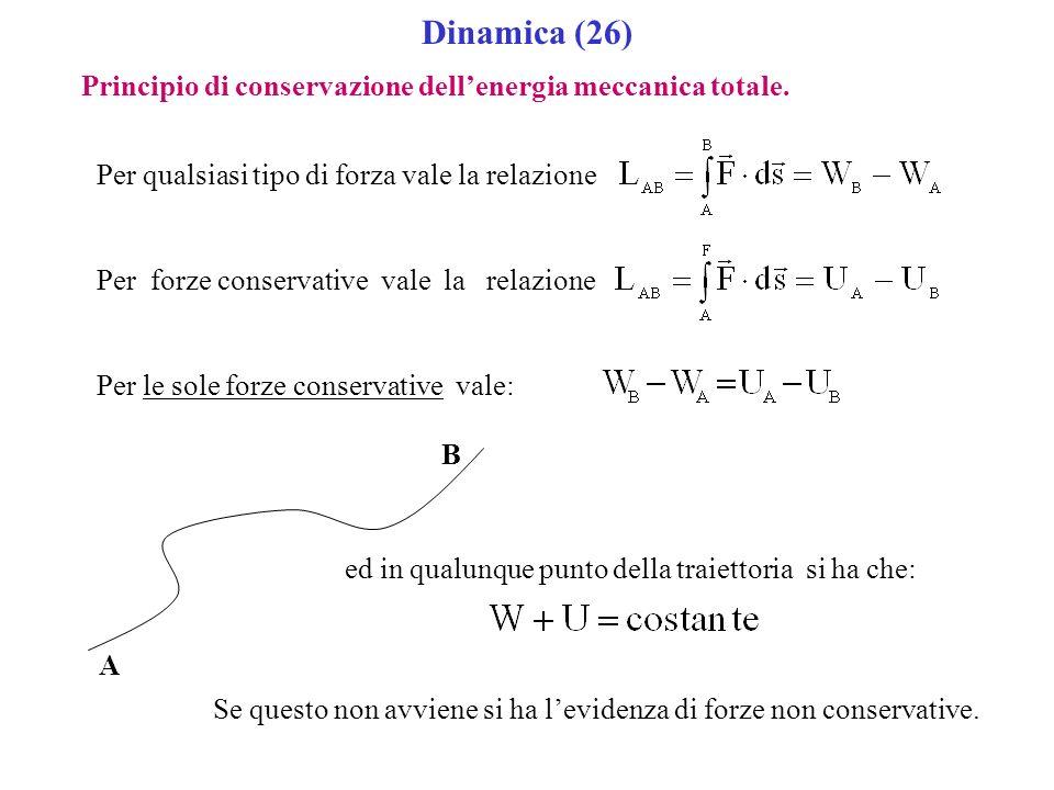 Dinamica (26) Principio di conservazione dellenergia meccanica totale. Per qualsiasi tipo di forza vale la relazione Per forze conservative vale la re