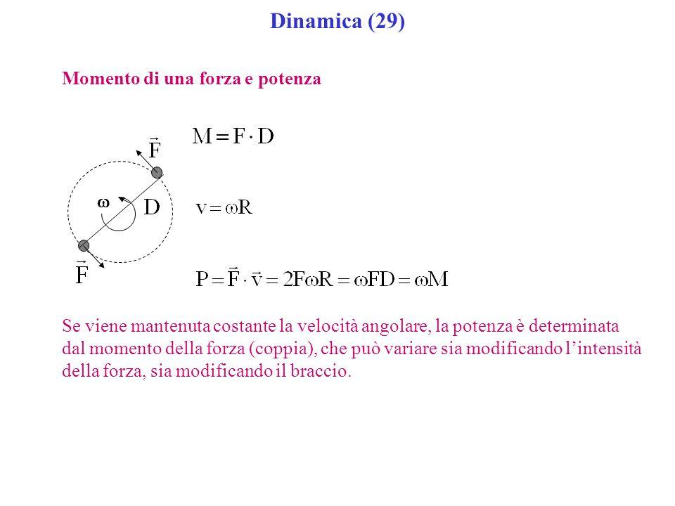 Dinamica (29) Momento di una forza e potenza Se viene mantenuta costante la velocità angolare, la potenza è determinata dal momento della forza (coppi