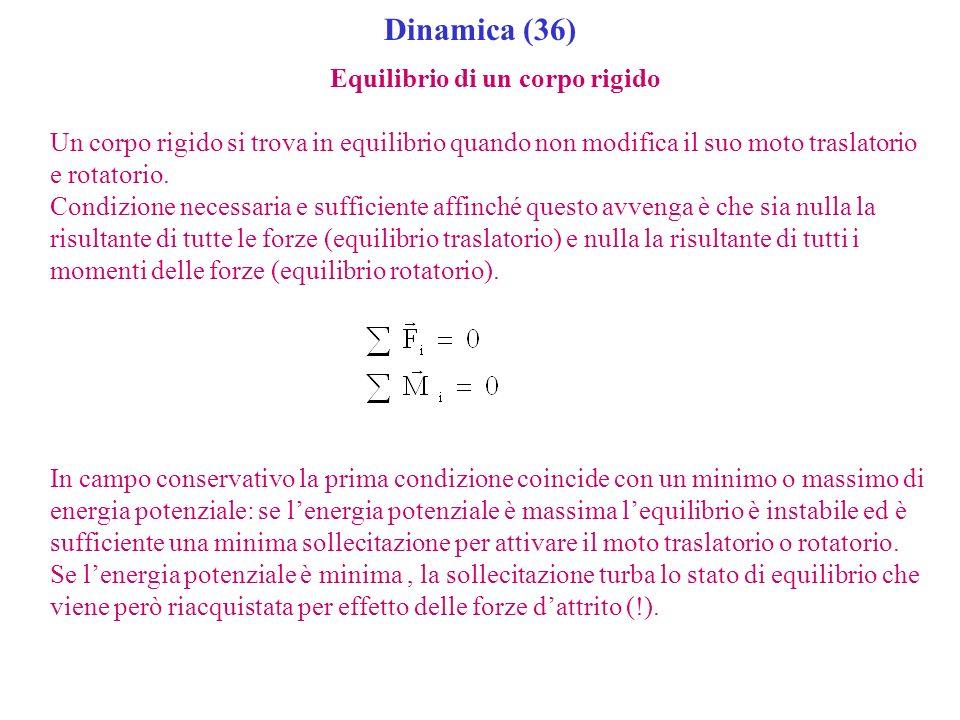 Dinamica (36) Equilibrio di un corpo rigido Un corpo rigido si trova in equilibrio quando non modifica il suo moto traslatorio e rotatorio. Condizione