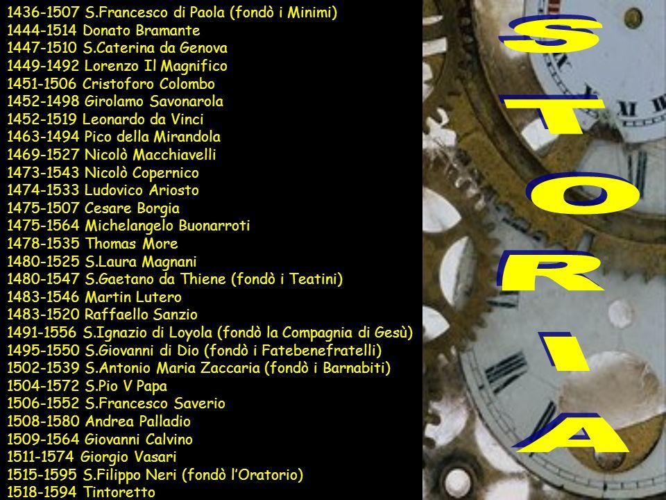 1436-1507 S.Francesco di Paola (fondò i Minimi) 1444-1514 Donato Bramante 1447-1510 S.Caterina da Genova 1449-1492 Lorenzo Il Magnifico 1451-1506 Cris