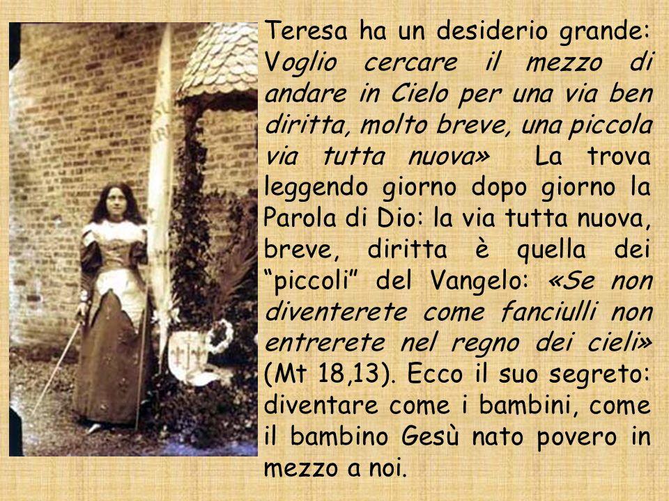 Teresa ha un desiderio grande: Voglio cercare il mezzo di andare in Cielo per una via ben diritta, molto breve, una piccola via tutta nuova» La trova
