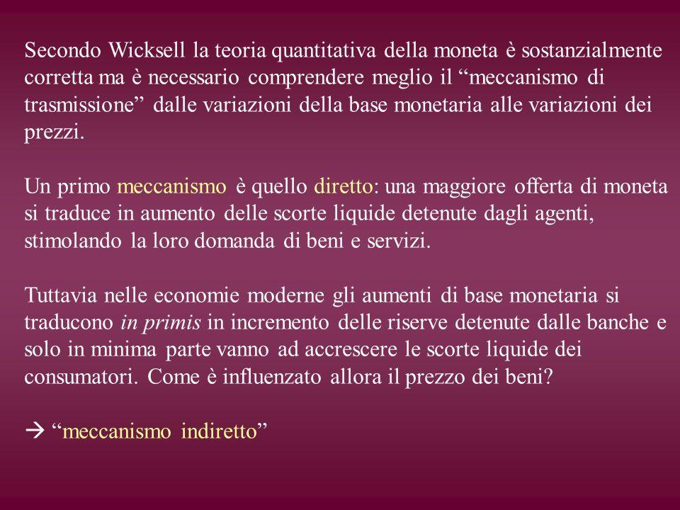 Secondo Wicksell la teoria quantitativa della moneta è sostanzialmente corretta ma è necessario comprendere meglio il meccanismo di trasmissione dalle