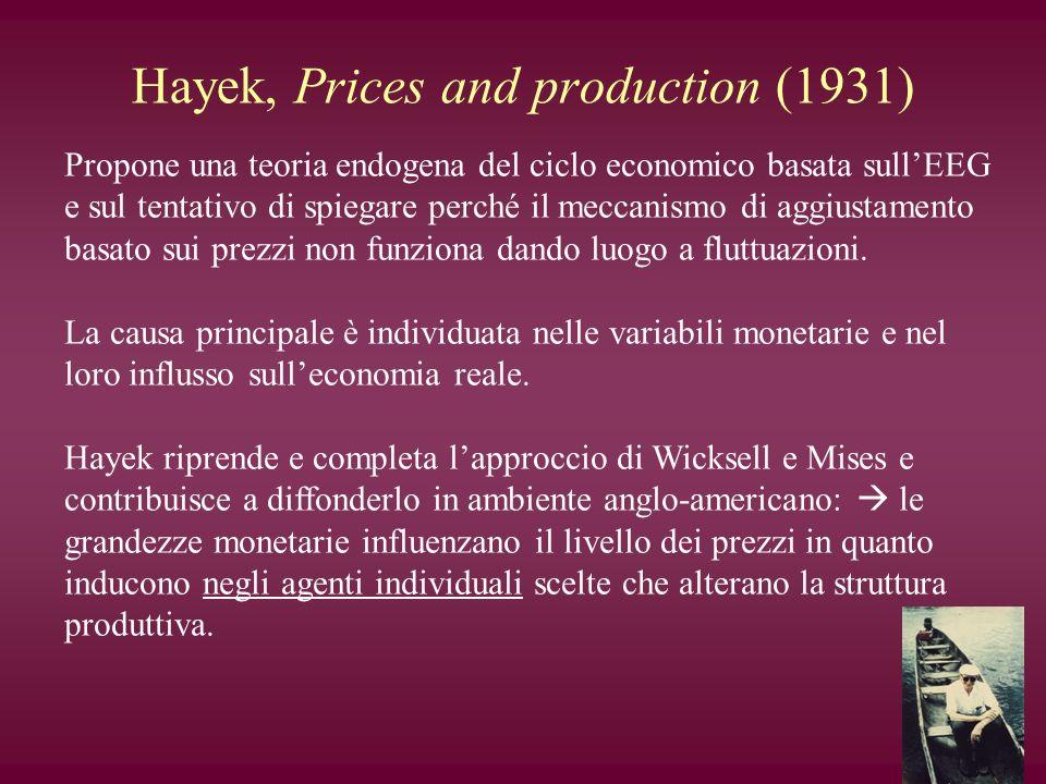 Hayek, Prices and production (1931) Propone una teoria endogena del ciclo economico basata sullEEG e sul tentativo di spiegare perché il meccanismo di