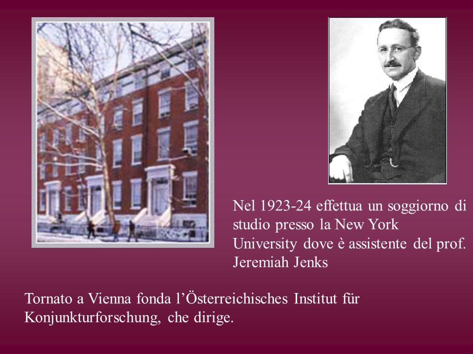 Nel 1923-24 effettua un soggiorno di studio presso la New York University dove è assistente del prof. Jeremiah Jenks Tornato a Vienna fonda lÖsterreic