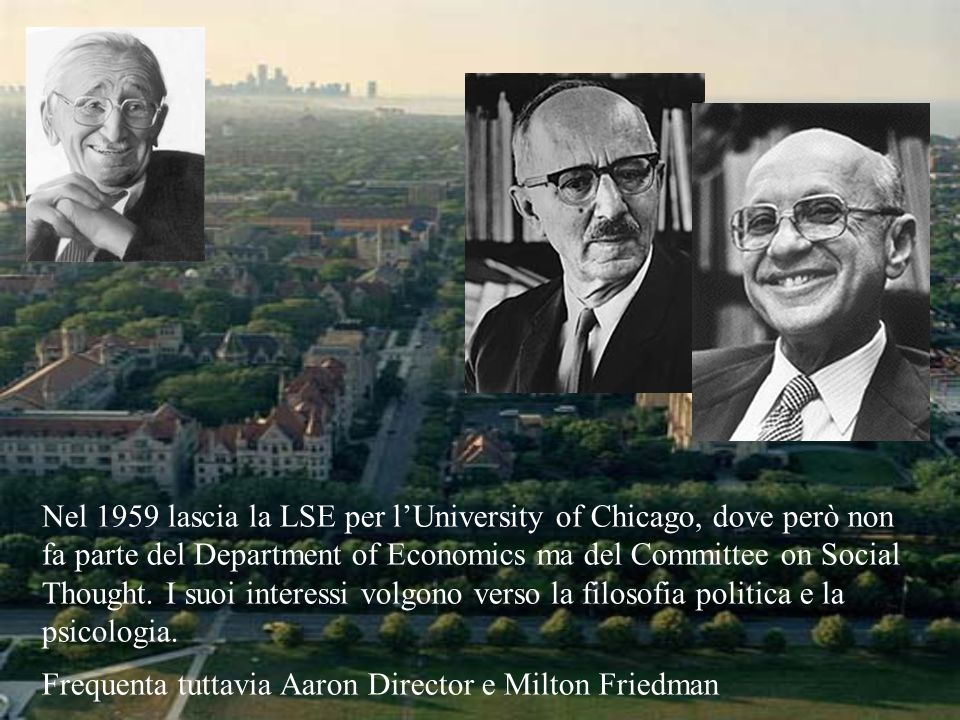 Nel 1959 lascia la LSE per lUniversity of Chicago, dove però non fa parte del Department of Economics ma del Committee on Social Thought. I suoi inter