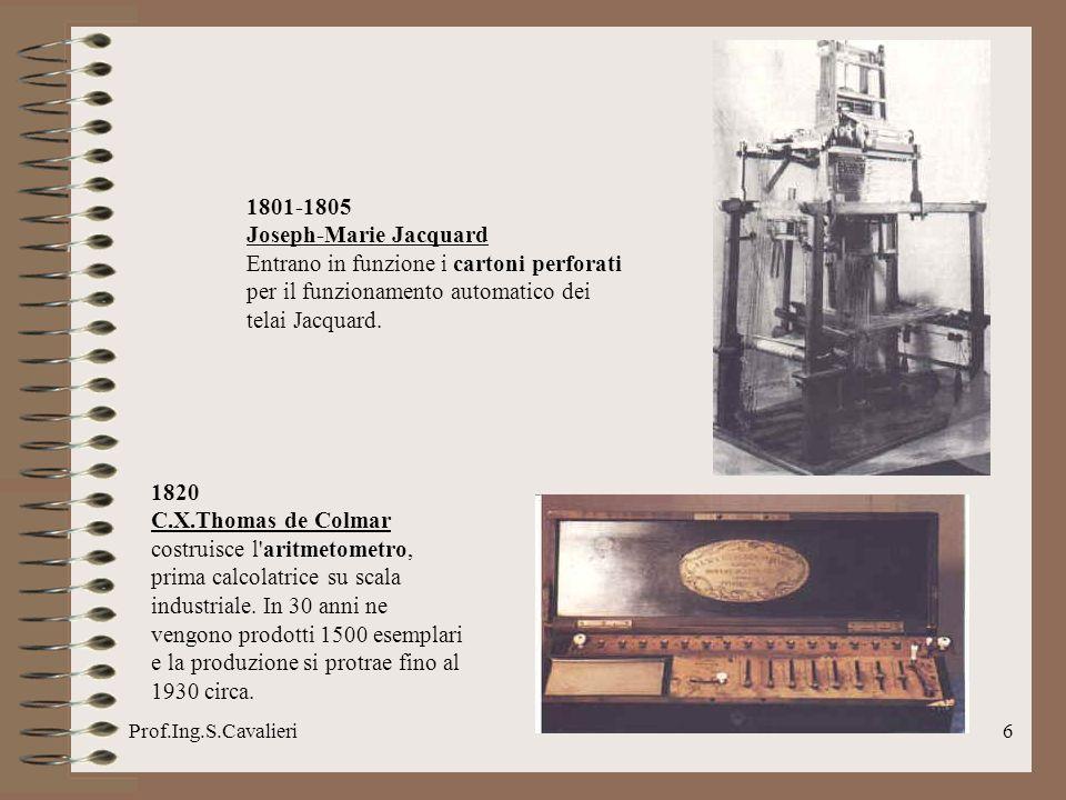 Prof.Ing.S.Cavalieri17 1956-1957 L IBM introduce e inizia le installazioni dei sistemi RAMAC (Random Access Method Of Accounting And Control).