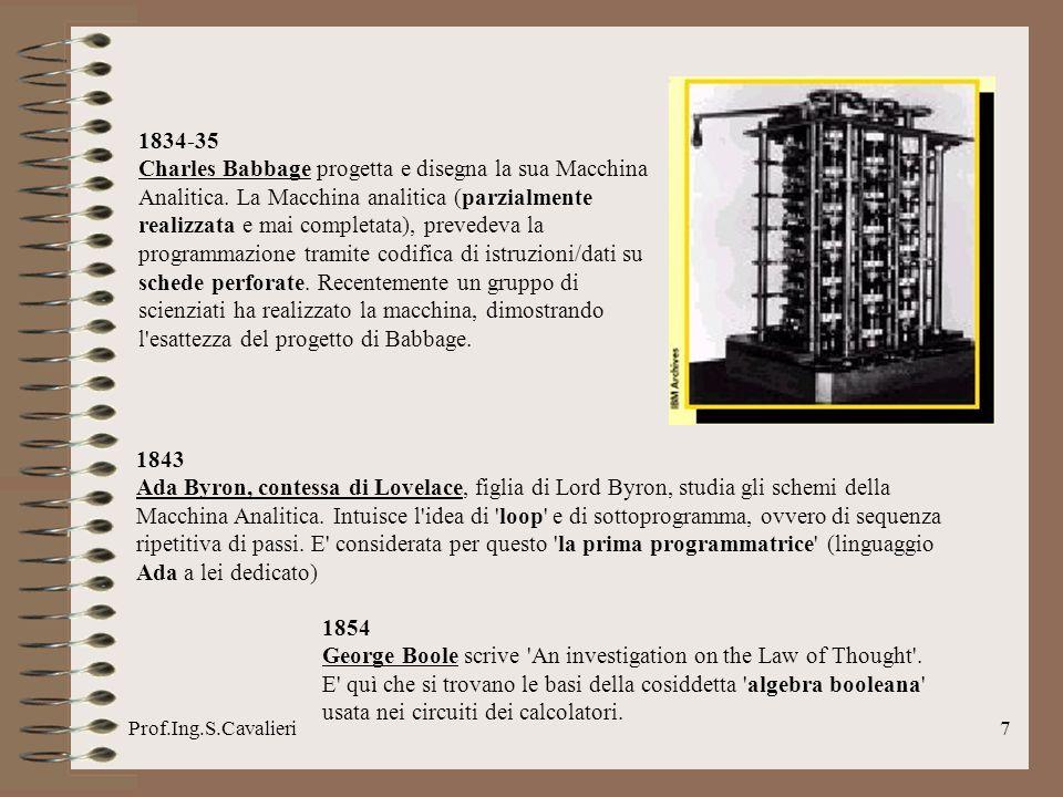 Prof.Ing.S.Cavalieri18 1957 John Backus e colleghi della IBM rilasciano la prima versione del compilatore per il linguaggio di programmazione FORTRAN (Formula Translator) alla Westinghouse.