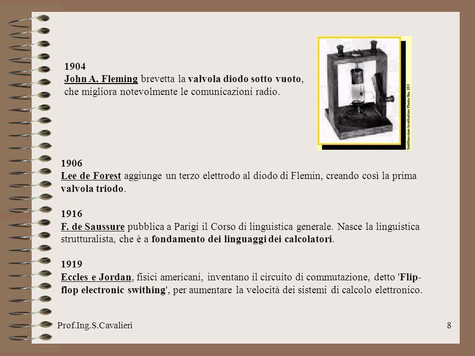 Prof.Ing.S.Cavalieri19 1959 Si forma il Comitato per i linguaggi di sistemi di dati e nasce il COBOL (Common Business Oriented Language).