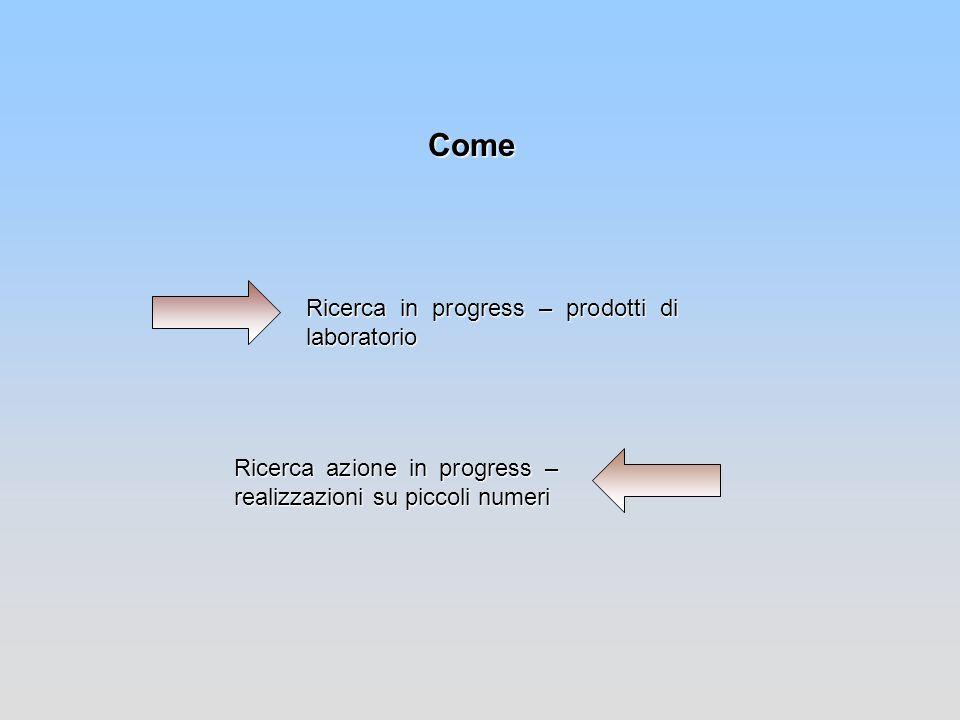 Come Ricerca in progress – prodotti di laboratorio Ricerca azione in progress – realizzazioni su piccoli numeri