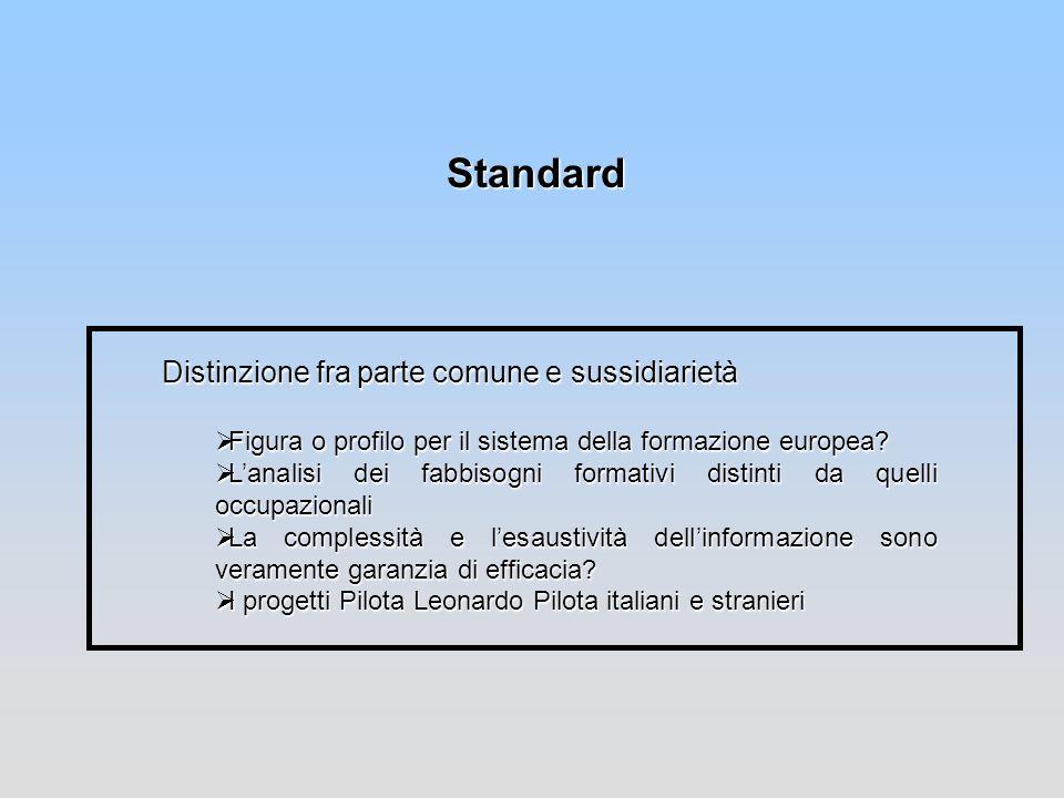 Standard Distinzione fra parte comune e sussidiarietà Figura o profilo per il sistema della formazione europea? Figura o profilo per il sistema della