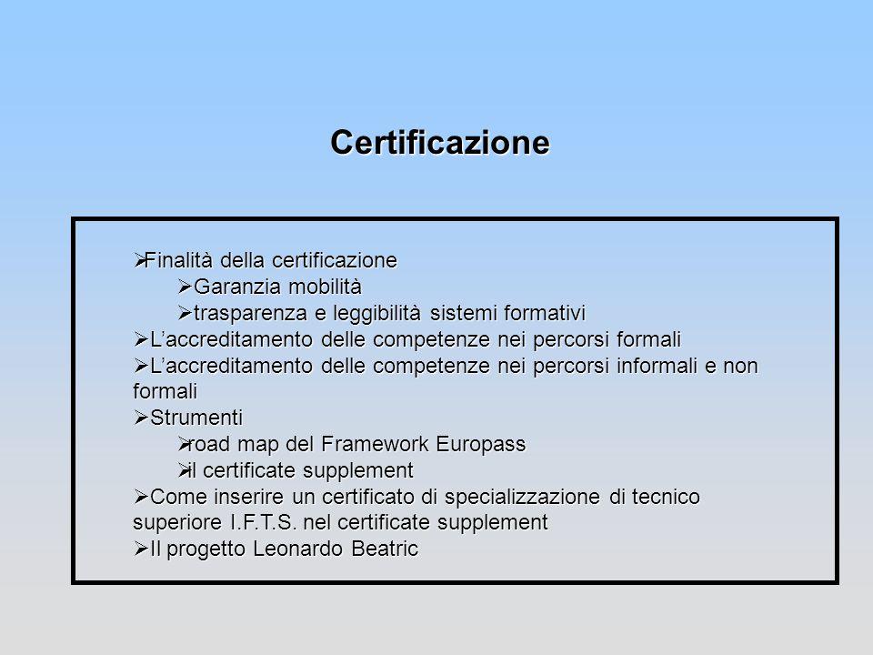 Certificazione Finalità della certificazione Finalità della certificazione Garanzia mobilità Garanzia mobilità trasparenza e leggibilità sistemi forma