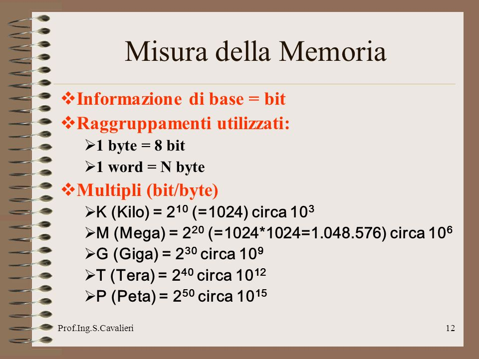 Prof.Ing.S.Cavalieri12 Misura della Memoria Informazione di base = bit Raggruppamenti utilizzati: 1 byte = 8 bit 1 word = N byte Multipli (bit/byte) K