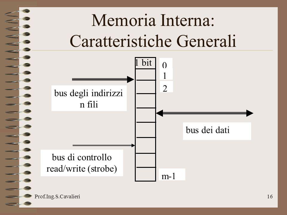 Prof.Ing.S.Cavalieri16 Memoria Interna: Caratteristiche Generali 1 bit bus dei dati bus degli indirizzi n fili bus di controllo read/write (strobe) 0