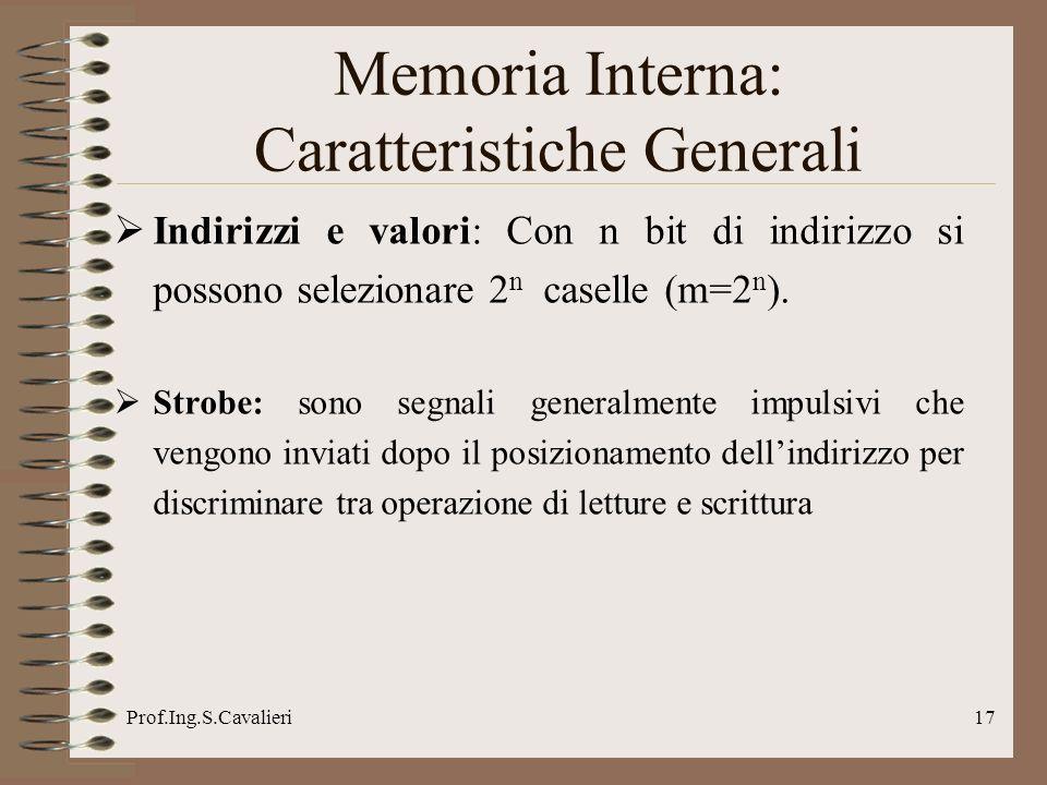 Prof.Ing.S.Cavalieri17 Indirizzi e valori: Con n bit di indirizzo si possono selezionare 2 n caselle (m=2 n ). Strobe: sono segnali generalmente impul