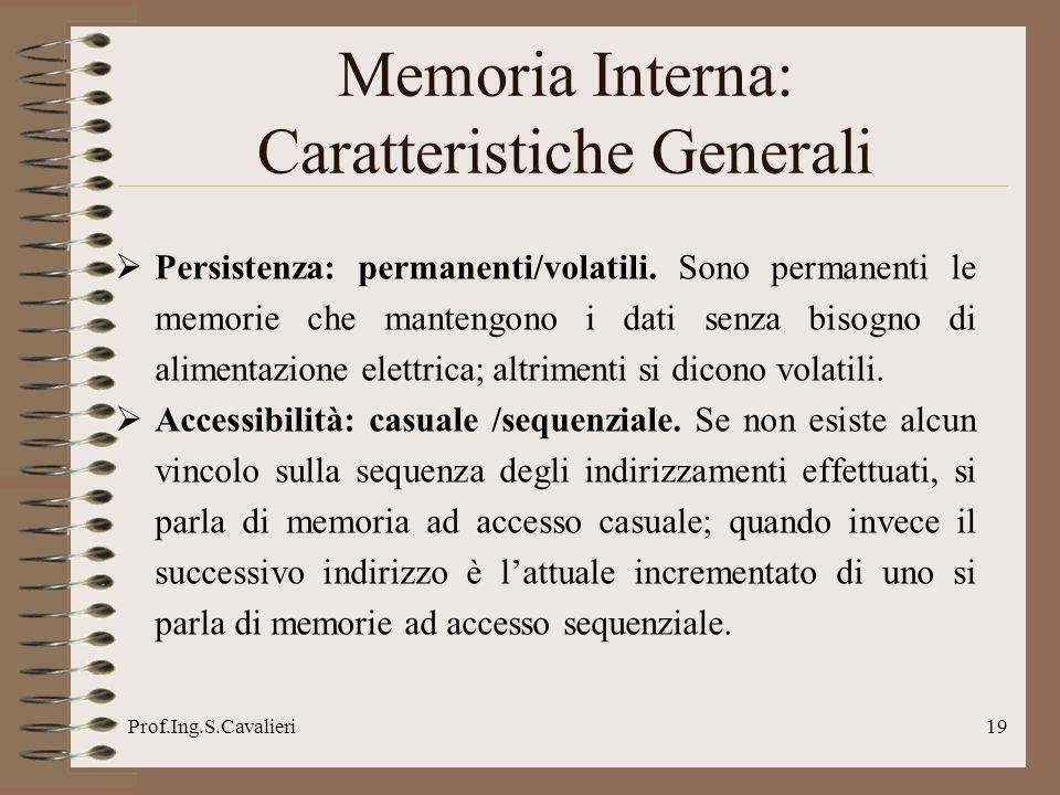 Prof.Ing.S.Cavalieri19 Persistenza: permanenti/volatili. Sono permanenti le memorie che mantengono i dati senza bisogno di alimentazione elettrica; al