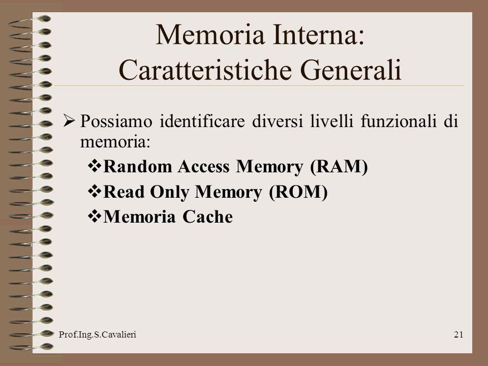 Prof.Ing.S.Cavalieri21 Possiamo identificare diversi livelli funzionali di memoria: Random Access Memory (RAM) Read Only Memory (ROM) Memoria Cache Me