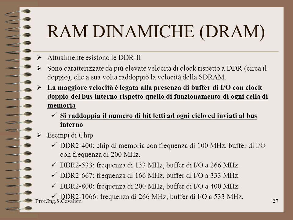 Prof.Ing.S.Cavalieri27 Attualmente esistono le DDR-II Sono caratterizzate da più elevate velocità di clock rispetto a DDR (circa il doppio), che a sua
