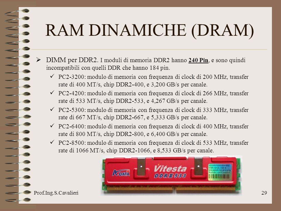 Prof.Ing.S.Cavalieri29 RAM DINAMICHE (DRAM) DIMM per DDR2. I moduli di memoria DDR2 hanno 240 Pin, e sono quindi incompatibili con quelli DDR che hann