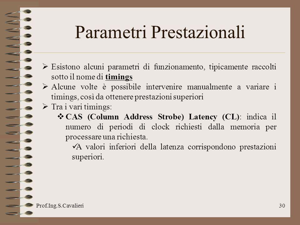 Prof.Ing.S.Cavalieri30 Parametri Prestazionali Esistono alcuni parametri di funzionamento, tipicamente raccolti sotto il nome di timings Alcune volte
