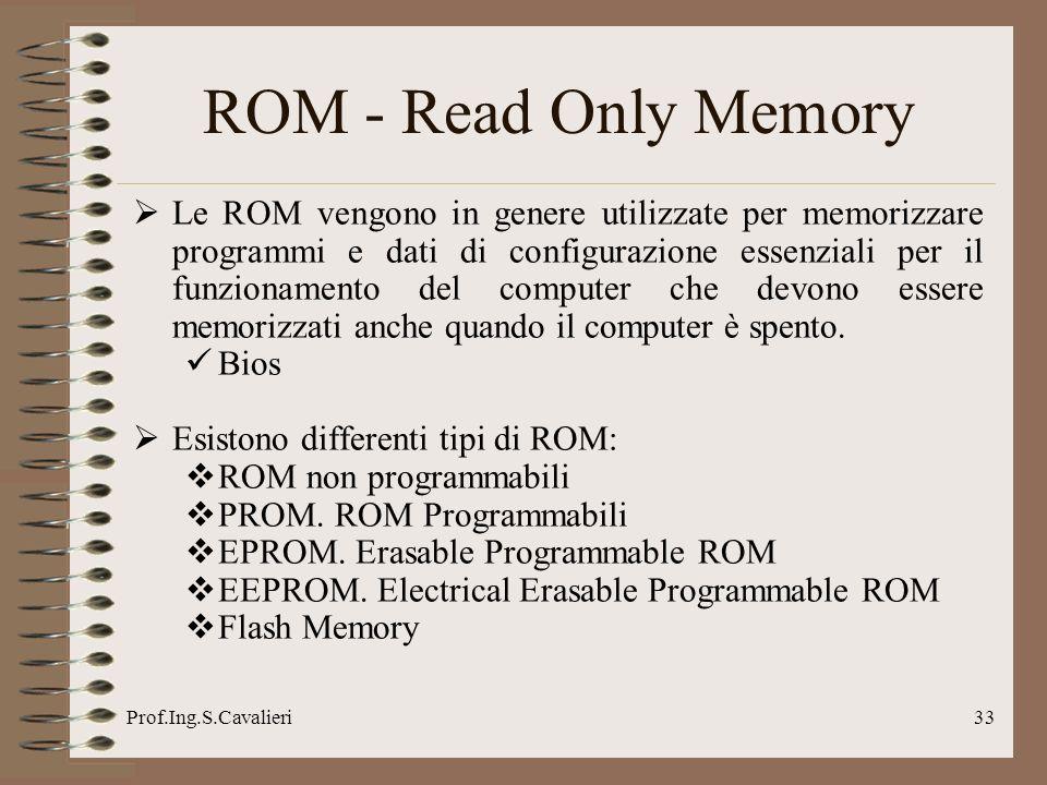 Prof.Ing.S.Cavalieri33 ROM - Read Only Memory Le ROM vengono in genere utilizzate per memorizzare programmi e dati di configurazione essenziali per il