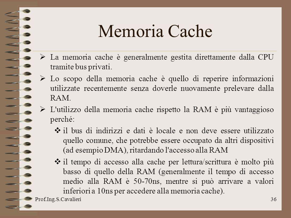Prof.Ing.S.Cavalieri36 Memoria Cache La memoria cache è generalmente gestita direttamente dalla CPU tramite bus privati. Lo scopo della memoria cache