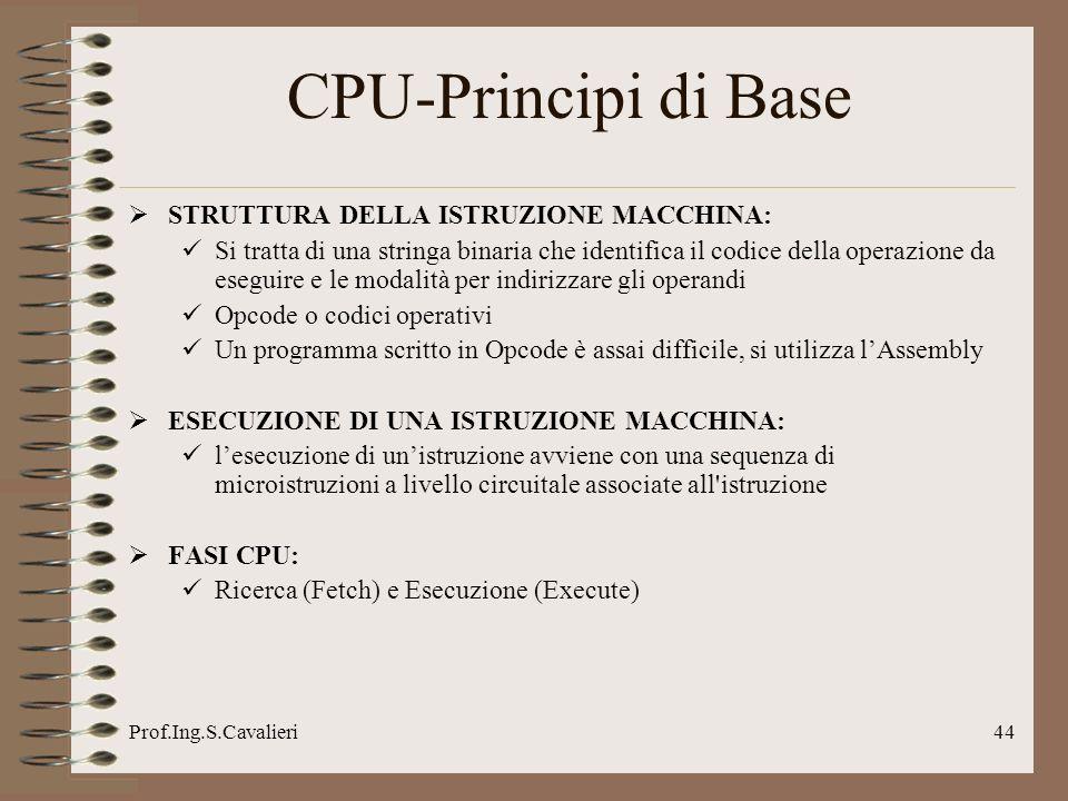 Prof.Ing.S.Cavalieri44 CPU-Principi di Base STRUTTURA DELLA ISTRUZIONE MACCHINA: Si tratta di una stringa binaria che identifica il codice della opera