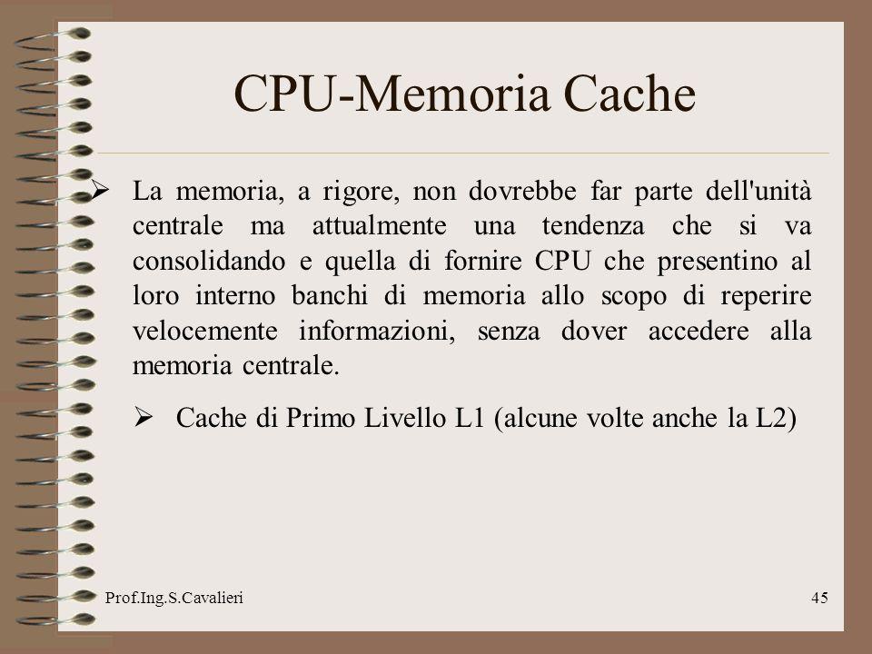 Prof.Ing.S.Cavalieri45 CPU-Memoria Cache La memoria, a rigore, non dovrebbe far parte dell'unità centrale ma attualmente una tendenza che si va consol