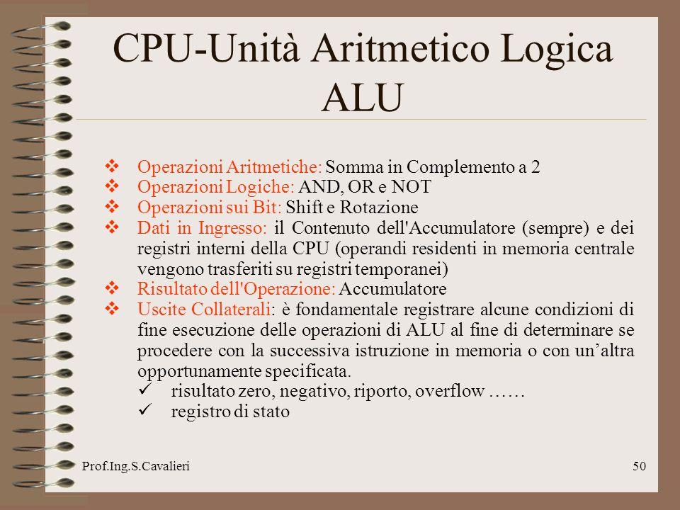 Prof.Ing.S.Cavalieri50 CPU-Unità Aritmetico Logica ALU Operazioni Aritmetiche: Somma in Complemento a 2 Operazioni Logiche: AND, OR e NOT Operazioni s