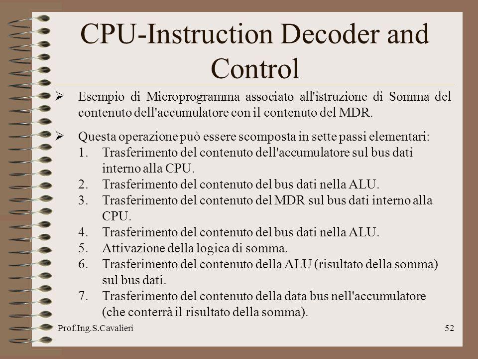 Prof.Ing.S.Cavalieri52 CPU-Instruction Decoder and Control Esempio di Microprogramma associato all'istruzione di Somma del contenuto dell'accumulatore