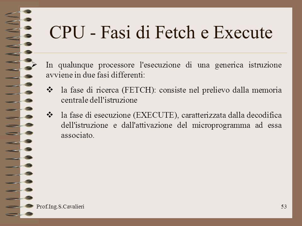 Prof.Ing.S.Cavalieri53 CPU - Fasi di Fetch e Execute In qualunque processore l'esecuzione di una generica istruzione avviene in due fasi differenti: l