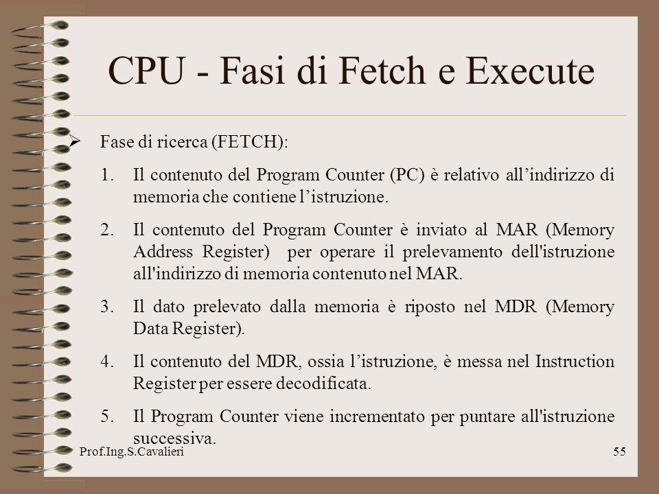 Prof.Ing.S.Cavalieri55 CPU - Fasi di Fetch e Execute Fase di ricerca (FETCH): 1.Il contenuto del Program Counter (PC) è relativo allindirizzo di memor