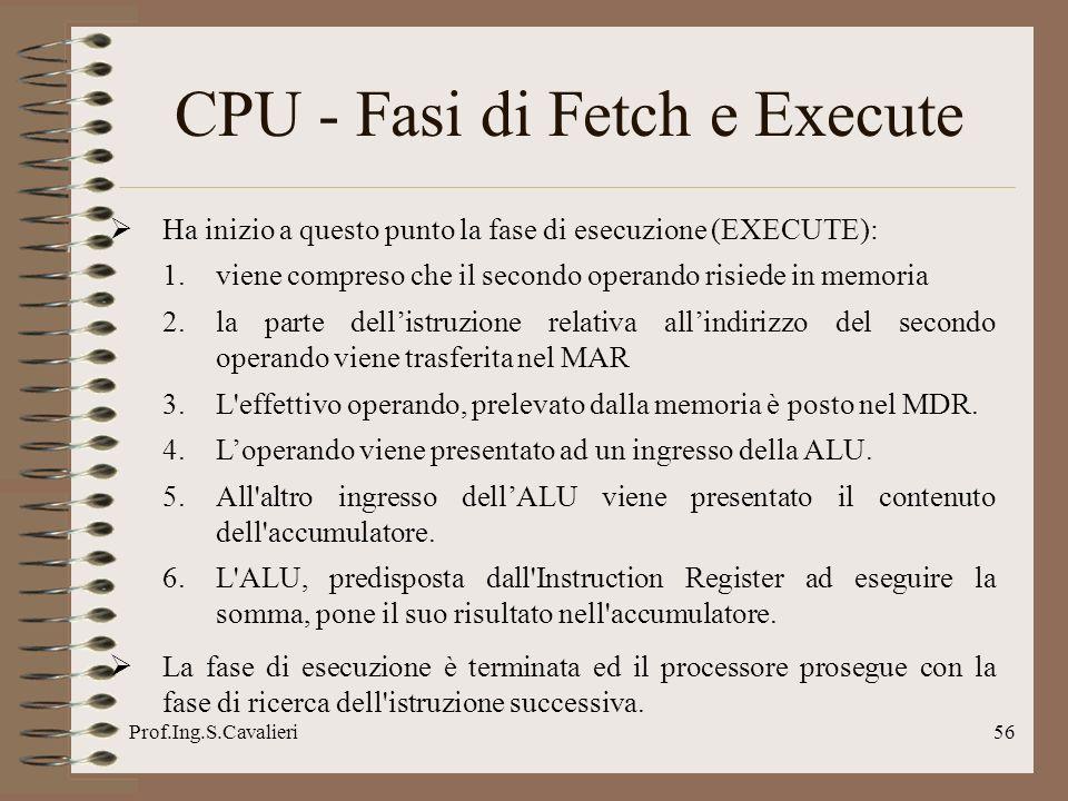 Prof.Ing.S.Cavalieri56 CPU - Fasi di Fetch e Execute Ha inizio a questo punto la fase di esecuzione (EXECUTE): 1.viene compreso che il secondo operand