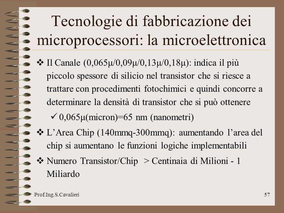Prof.Ing.S.Cavalieri57 Tecnologie di fabbricazione dei microprocessori: la microelettronica Il Canale (0,065μ/0,09μ/0,13μ/0,18μ): indica il più piccol